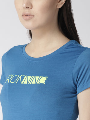 Fitkin Blue Round Neck Quick Dry Slim Fit Running T-shirt