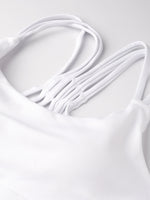 Fitkin White Solid Non-Wired Lightly Padded Sports Bra