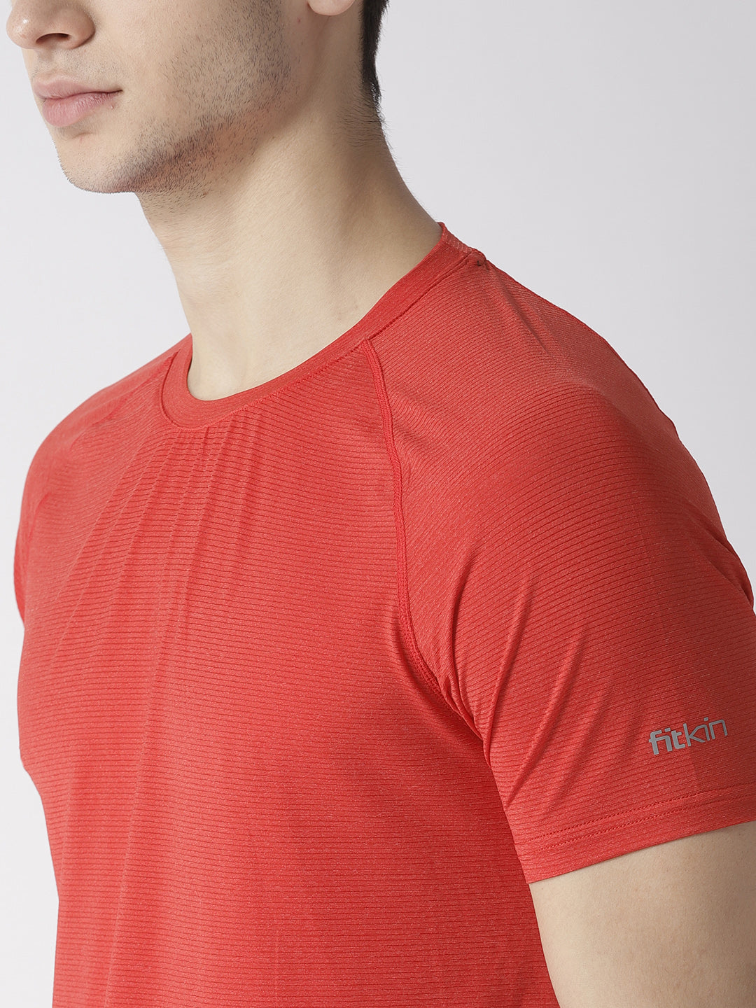 Men Red Self Striped T-shirt