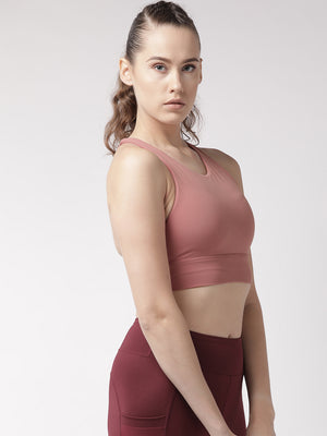 Fitkin Dusty Pink Solid Non-Wired Lightly Padded Sports Bra