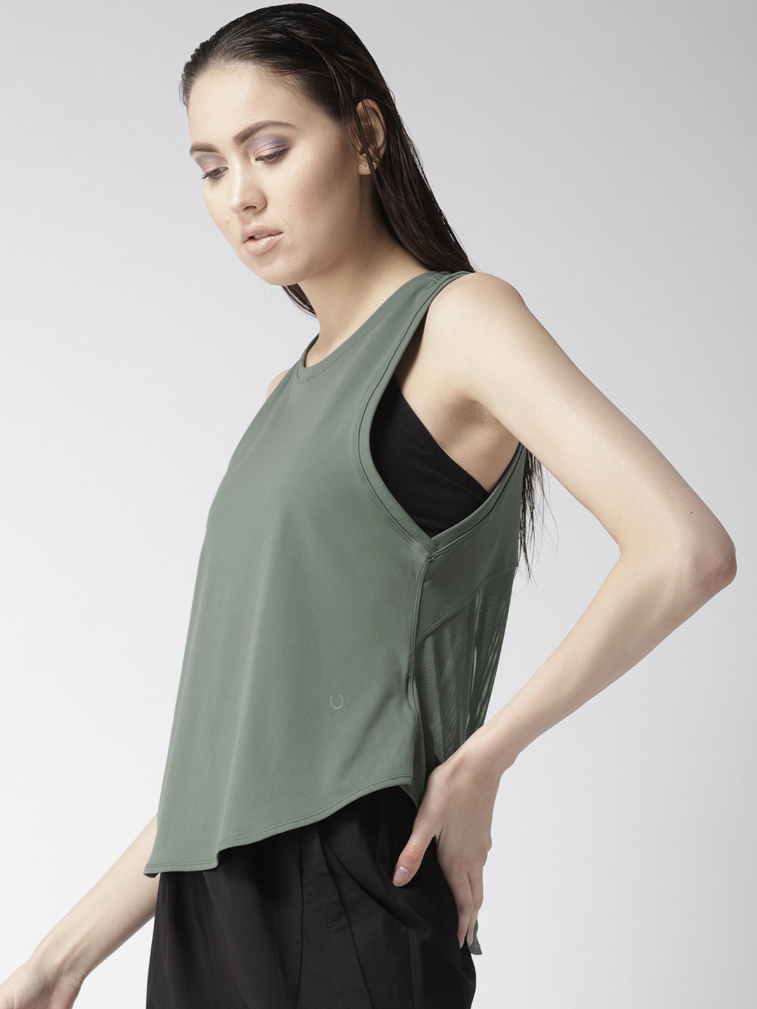 Fitkin Green Relaxed Fit Yoga Back Tie Tank Top