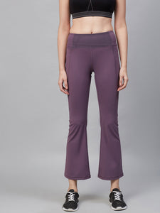 Fitkin Women Purple Solid Bootcut Training Track Pants