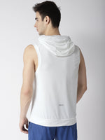 Men White Self Design Hooded T-shirt