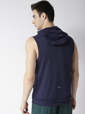 Men Blue Self Design Hooded T-shirt