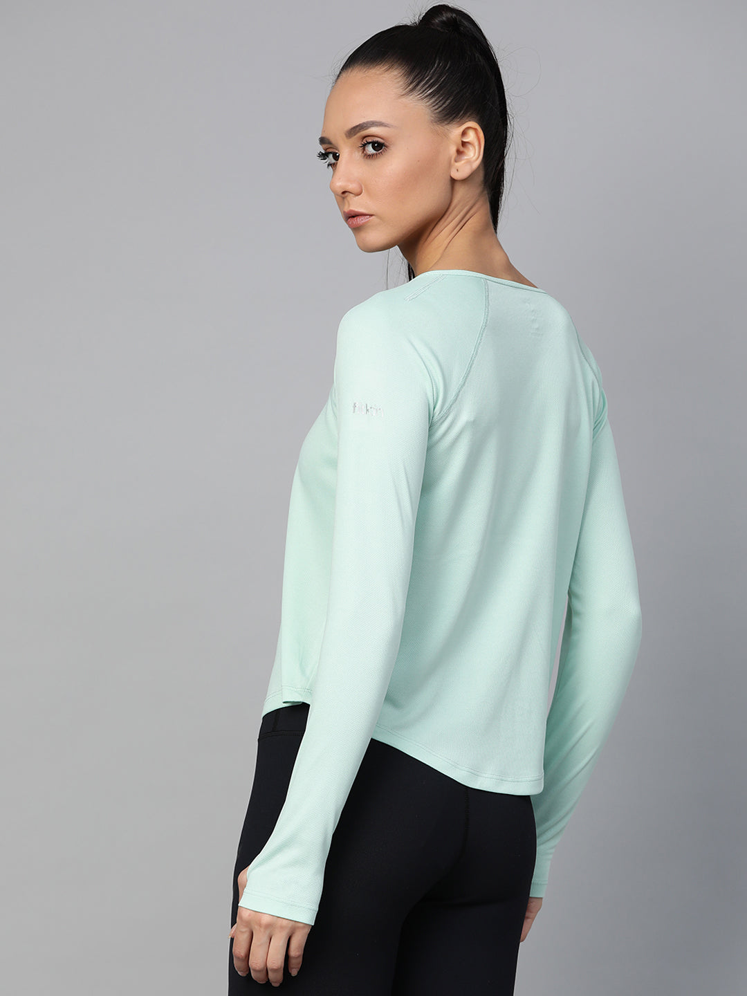 Fitkin Women Sea Green Solid Round Neck T-shirt