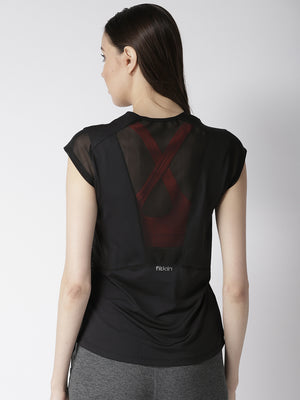 Fitkin Black Sport Gym Top