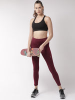 Fitkin Women Maroon Solid Quick Dry Training Tights