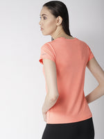 Fitkin Coral Round Neck Quick Dry Slim Fit Running T-shirt