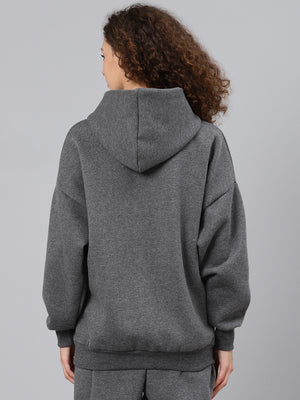 Fitkin Women Charcoal Grey Solid Fleece Hooded Pullover Sweatshirt
