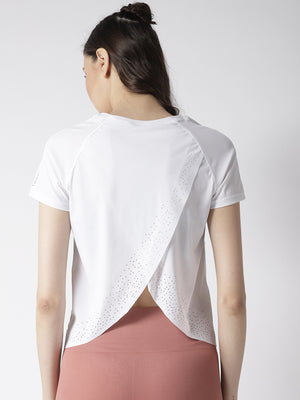 Fitkin White Relaxed Fit Open Style Back Yoga Top