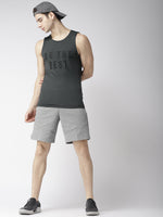 Mens Grey Slogan Print Tank Top