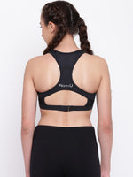 Cross back with mesh panels and adjustable strap