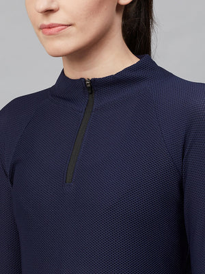 Fitkin Women Navy Blue Self Design Semi-Sheer Mesh Sweatshirt