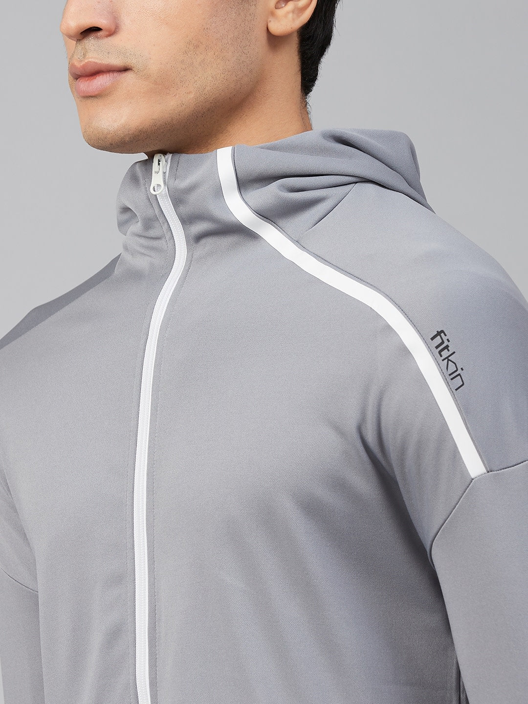 Fitkin Men Grey Solid Hooded Sporty Jacket