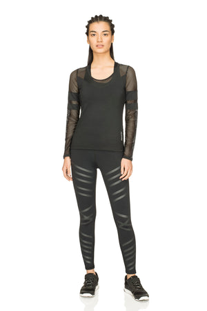 Fitkin Athleisure Mesh Sleeve Long Sleeve Top
