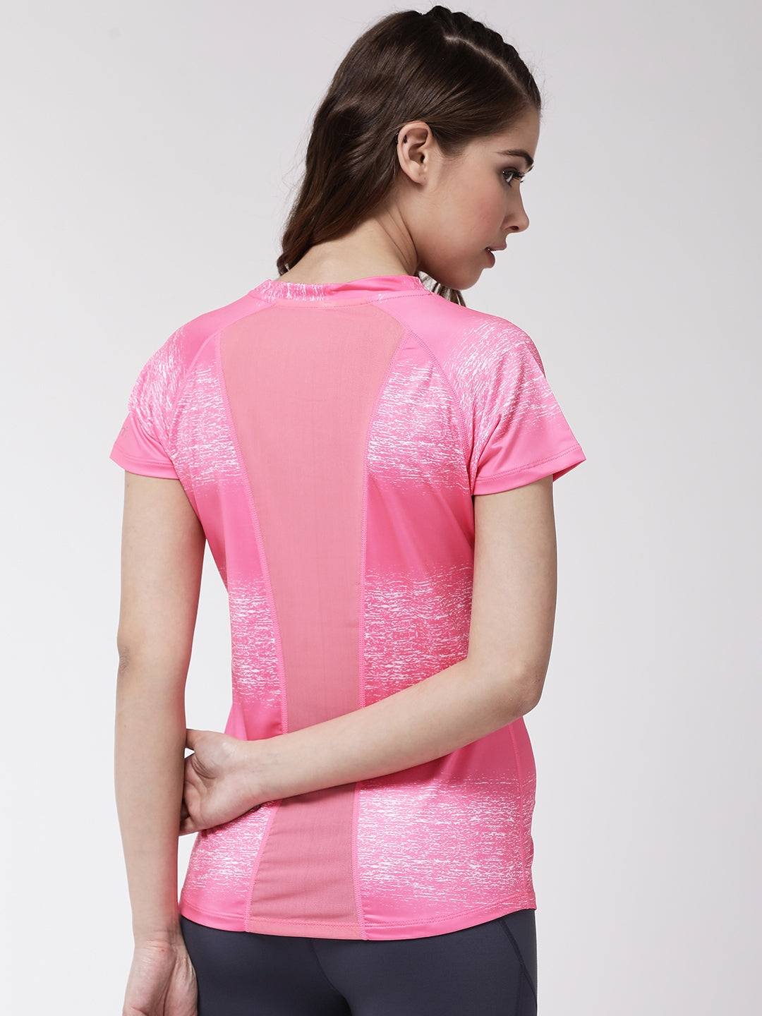 Fitkin women printed back mesh panel gym top