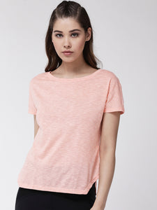 Fitkin women side cut solid cotton t-shirt