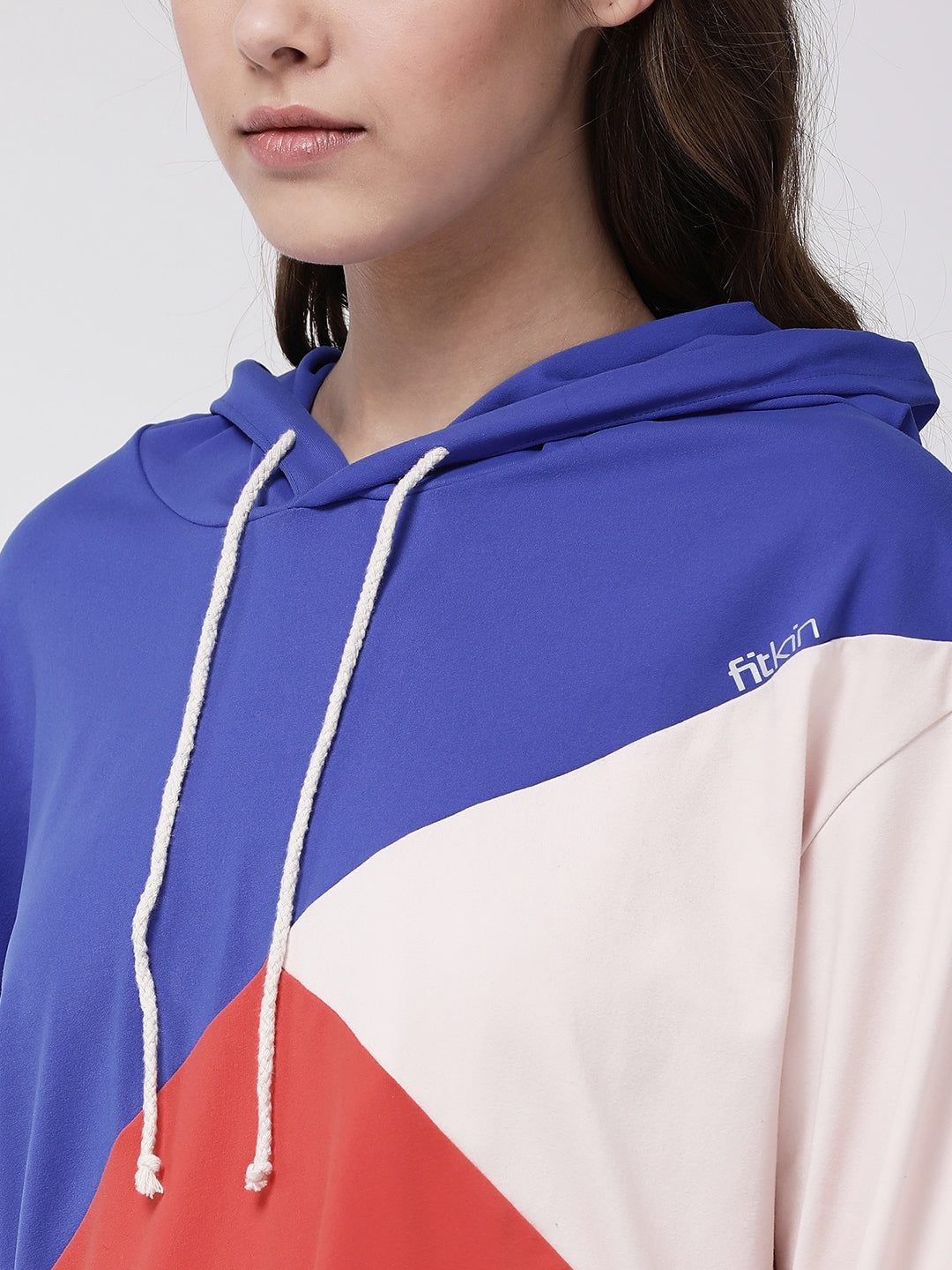 Fitkin Women tri color casual hoodie