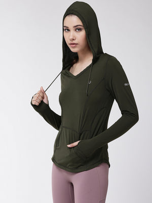 Fitkin women self design long sleeve training hoodie with pockets