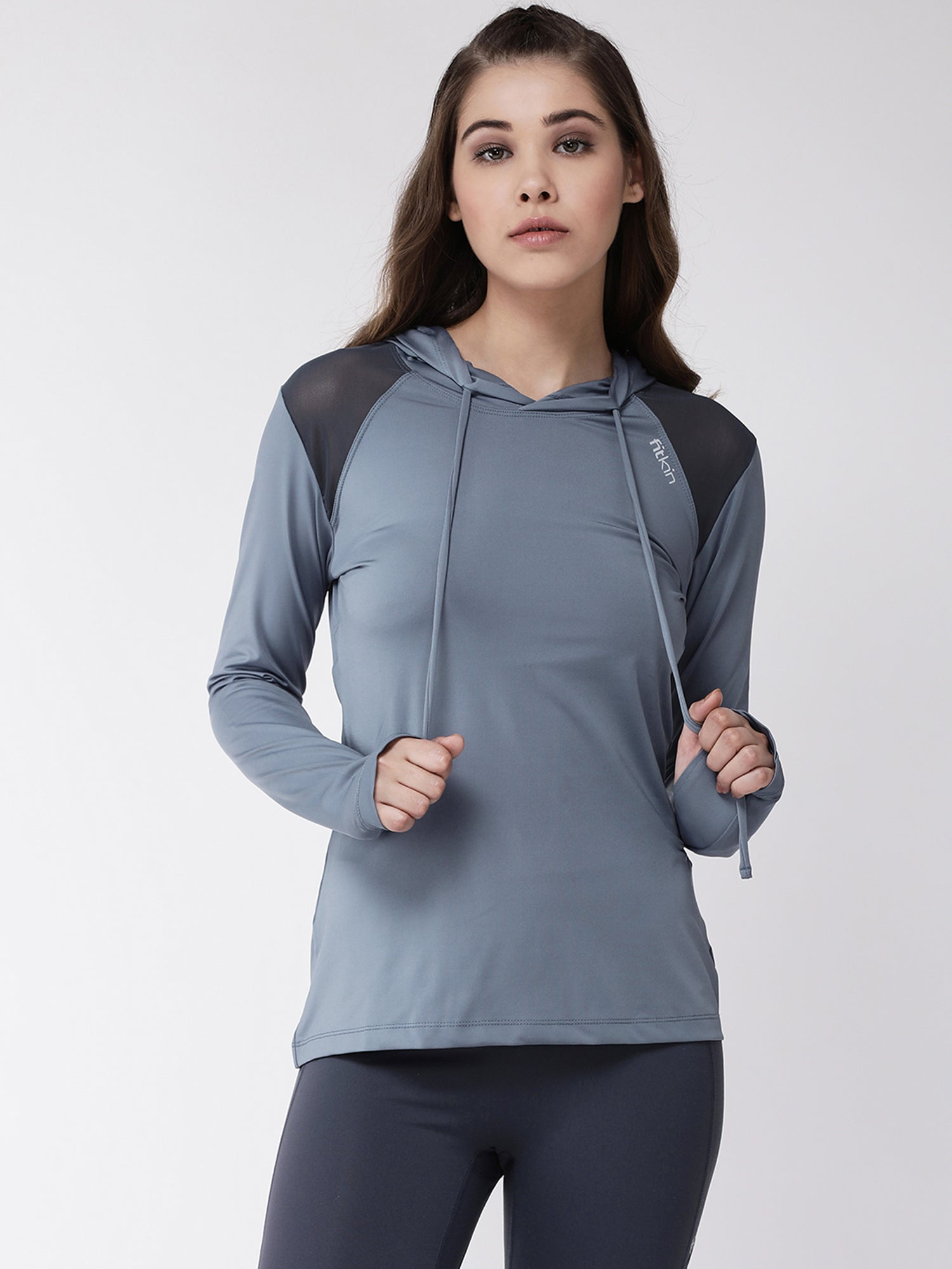 Fitkin women long sleeve shoulder mesh style sports hoodie
