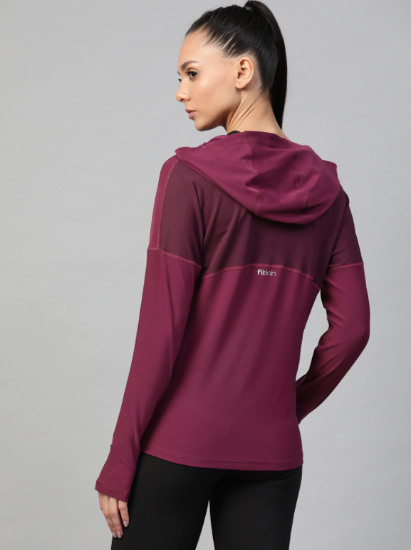 Fitkin Women Purple Solid Hooded Training T-shirt