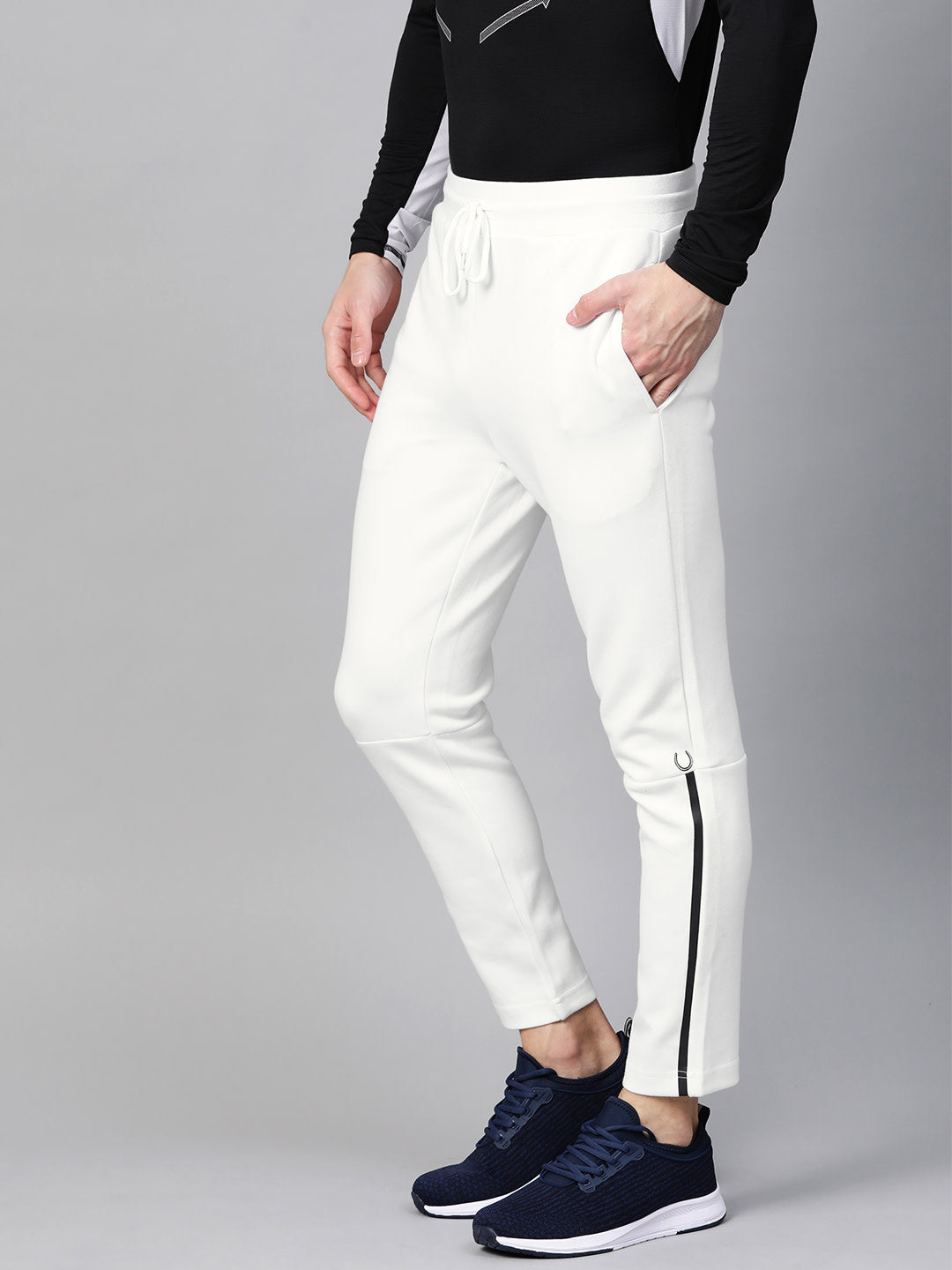 Fitkin Men White Solid Training Track Pants