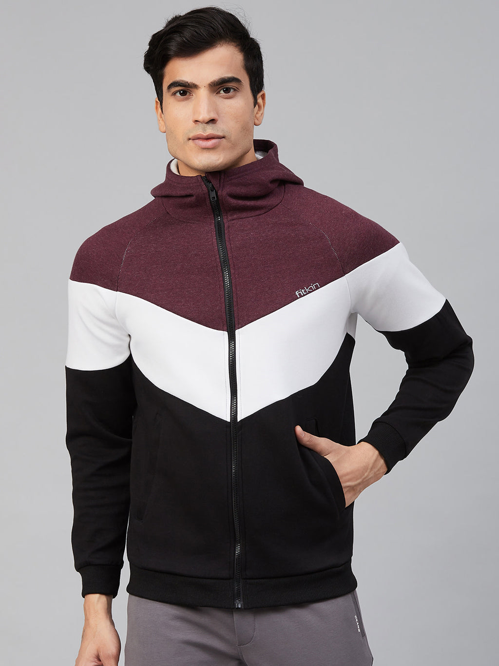 Fitkin Men Black & Burgundy Color blocked Hooded Gym Sweatshirt