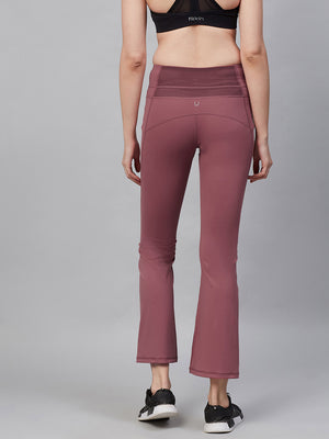 Fitkin Women Mauve Solid Bootcut Training Track Pants