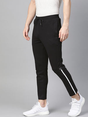 Fitkin Men Black Solid Training Track Pants