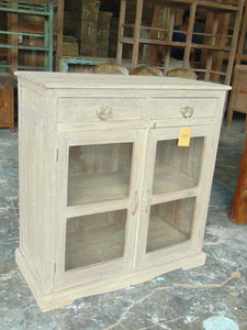2 DRW. GLASS FTD. CABINET