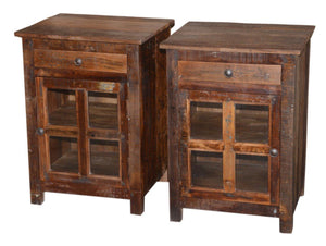 WOOD SIDE TABLES (RIGHT AND LEFT SET OF 2)