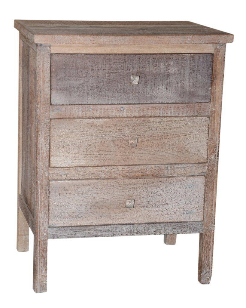 WOOD 3DRAWER BEDSIDE