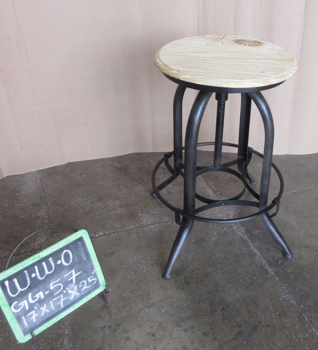 IRON + WOODEN BAR STOOL