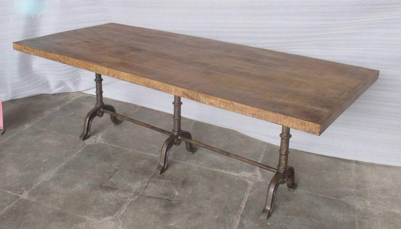 CAST IRON BASE + WOODEN TOP TABLE