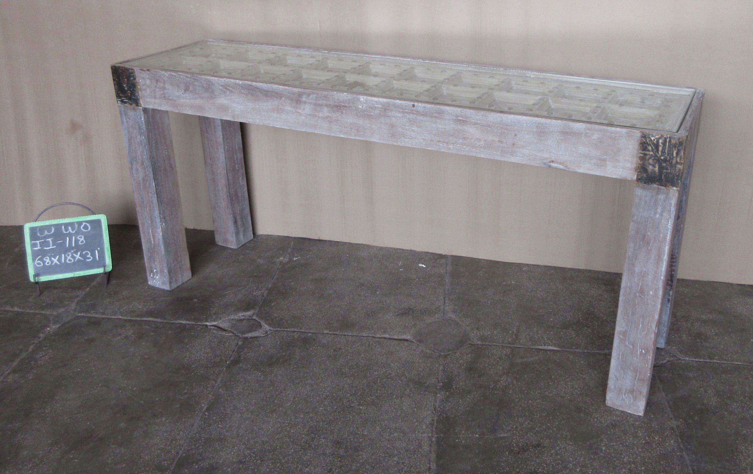 WOODEN CONSOLE TABLE WITH GLASS TOP