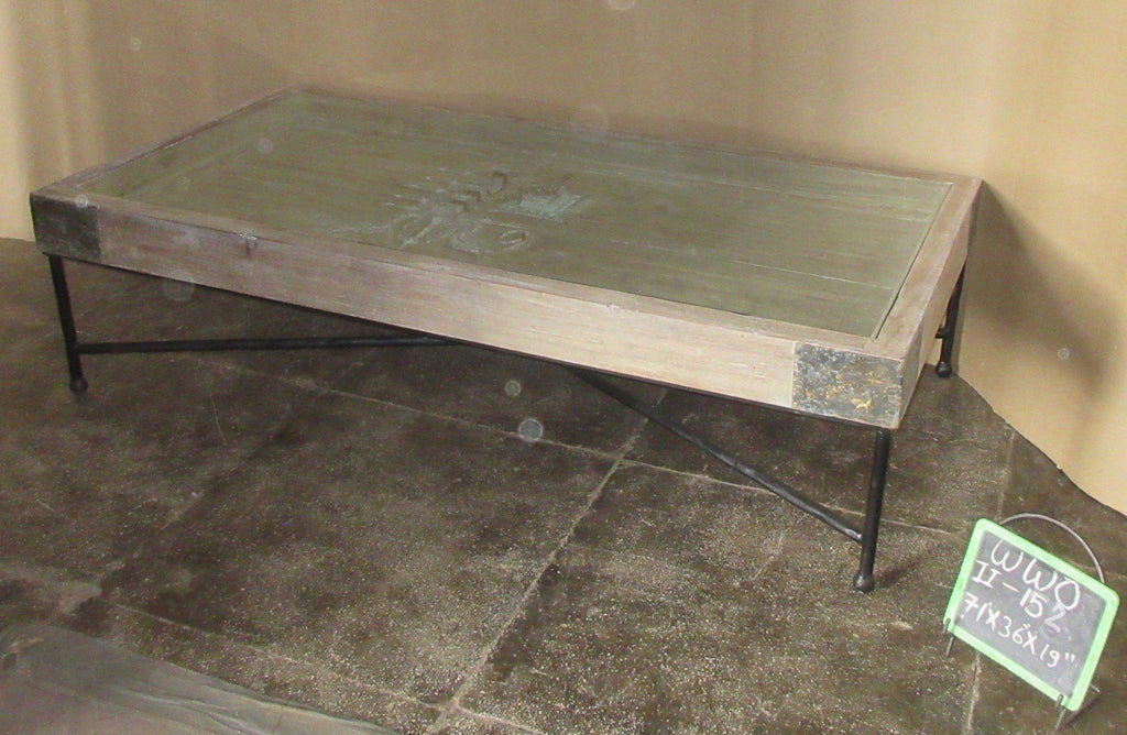 WOOD+IRON COFFEE TABLE W/GLASS