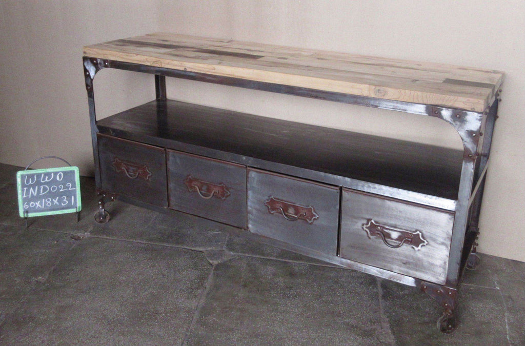 IRON + WOODEN DRAWER CONSOLE