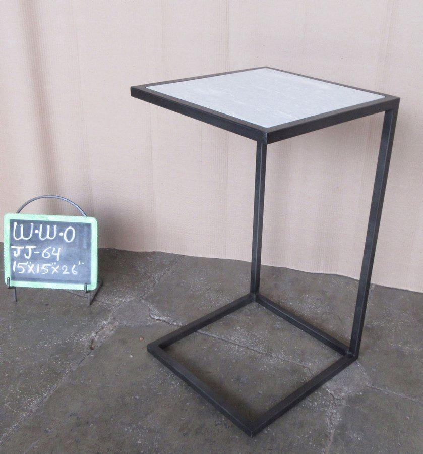 IRON + WHITE MARBLE SIDE TABLE