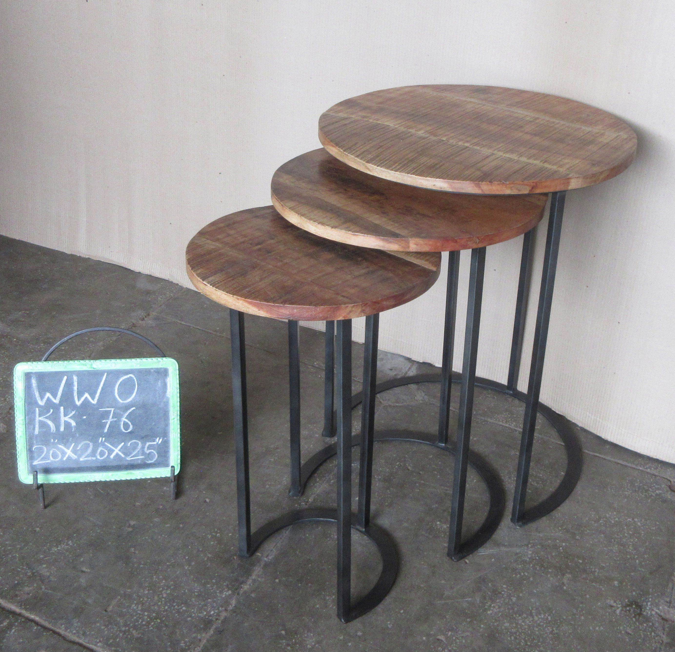 IRON + WOODEN NESTING TABLE SET/3