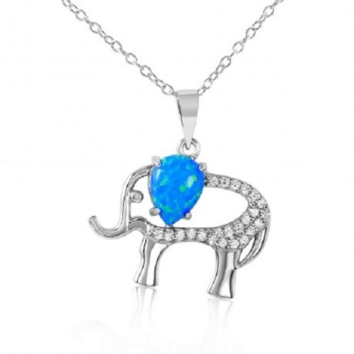 925 Sterling Silver Rhodium Plated Elephant w CZ & Synthetic Blue Opal Necklace