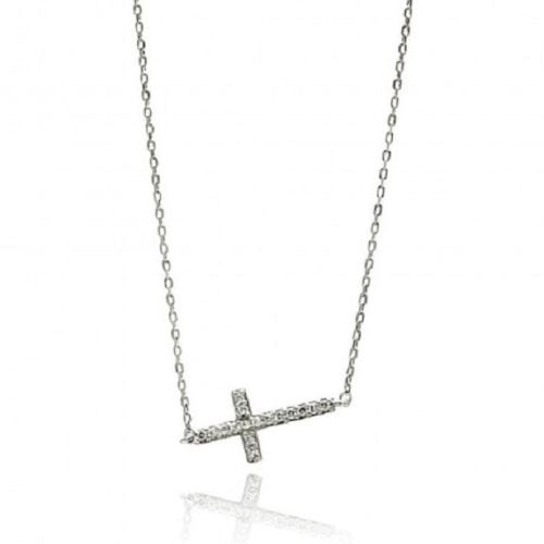 925 Sterling Silver Rhodium Plated Sideways Cross CZ Necklace