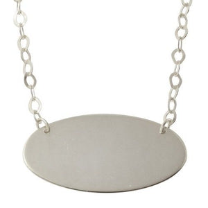925 Sterling Silver Rhodium Plated Large Oval Disc Necklace