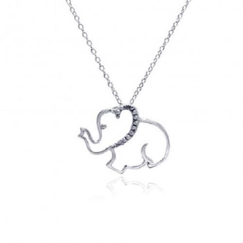 925 Sterling Silver Rhodium Plated Clear Elephant Necklace