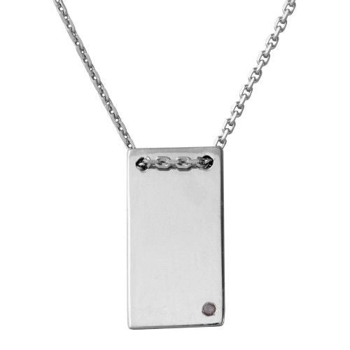 925 Sterling Silver Rhodium Plated Engravable Rectangular Geometric Necklace with CZ