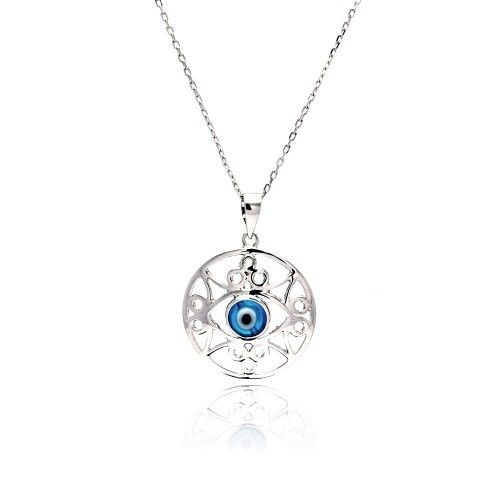 925 Sterling Silver Rhodium Open Outline Disc Evil Eye CZ Necklace Necklace