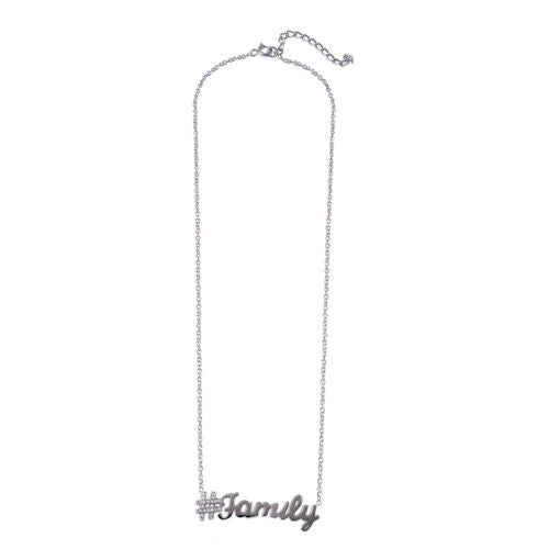 925 Sterling Silver Rhodium Plated Hashtag Family Necklace