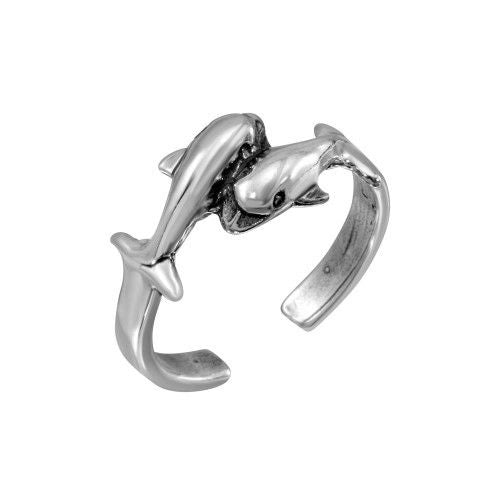 925 Sterling Silver Dolphins Adjustable Toe Ring