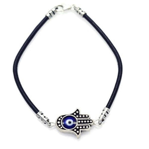 925 Oxidized Blue Evil Eye Hamsa Hand on a Leather Bracelet