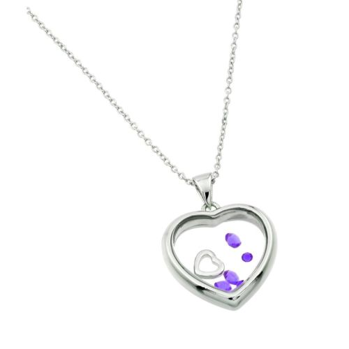 925 Sterling Silver Rhodium Plated Birthstone Heart Pendant - June - Alexandrite