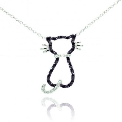 925 Sterling Silver Rhodium Plated Open Cat Black & Clear CZ Necklace